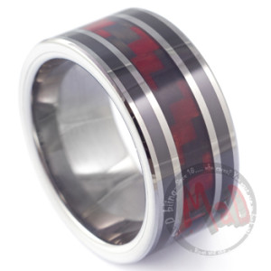 Spit Roast Tungsten Red Kevlar Ring